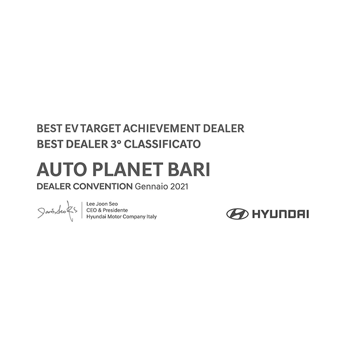 HYUNDAI DEALER CONVENTION GENNAIO 2021 - PREMIO AUTO PLANET BARI