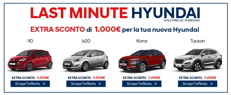 Fino al 31 Maggio extra -1000€ per acquisto nuova Hyundai.