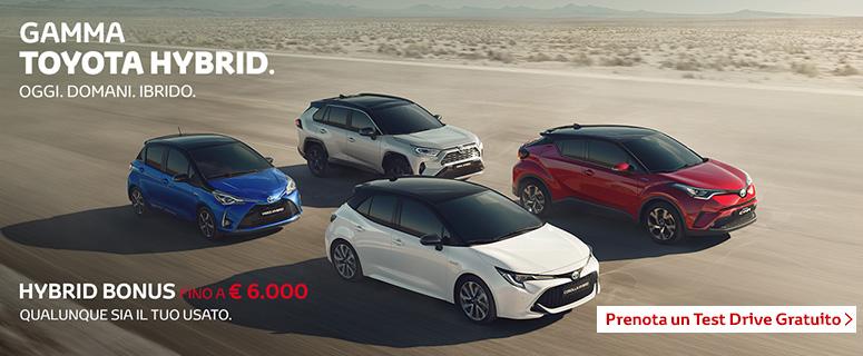 HYBRID BONUS fino a €6.000 qualunque sia il tuo usato. Scegli anche tu la gamma Toyota Hybrid.