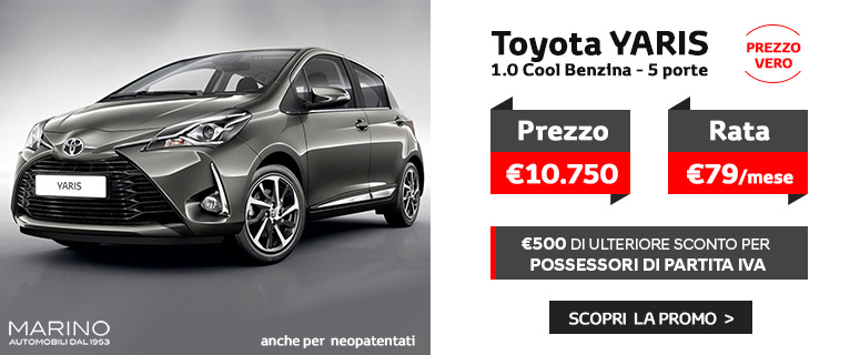 Promozione: Nuova Toyota YARIS Benzina - Prezzi 2019