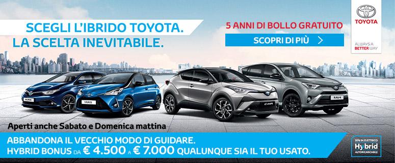HYBRID BONUS da €4.500 a €7.000 qualunque sia il tuo usato. Scegli anche tu la gamma Toyota Hybrid.
